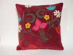 "Floral Needlecraft Red Suzani Pillow Cover 16""x16""  (40x40) Vintage Asian Decor, Tribal Living Room"