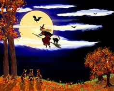 Halloween Night, digital illustration by Michele Avanti   It's Halloween night, the moon is full and a witch flies on her broom, her black cat riding on the straw as bats follow along. Little tortoise shell cats watch wondering what do they need to do, to fly like that black cat. Hidden in the leaves of a tree, an owl quietly watches.