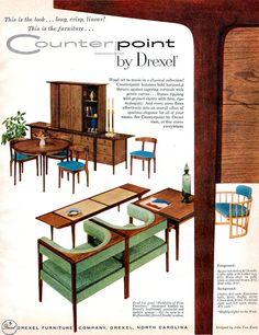 Counterpoint by John Van Koert Drexel Furniture Mid Century Modern 1956 Print Ad | eBay