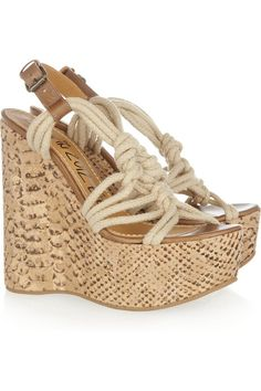 Lanvin Cork Wedge Sandals