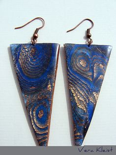 Polymer Clay, Fimo, Copper leaf and copper earwires