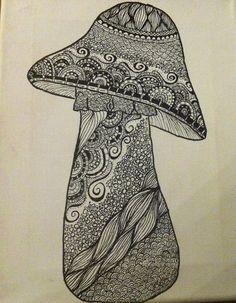 Zentangle Mushroom by mrfishandcompany on Etsy