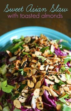 Sweet Asian slaw has everything I want in a salad: the perfect crunch of the cabbage, the savory nutty bite of the toasted almonds, the sweet and tangy dressing, and it all comes together with the bright herbaciousness of the cilantro. Side Dishes For Bbq, Best Side Dishes, Vegetarian Recipes, Cooking Recipes, Healthy Recipes, Vegan Vegetarian, Yummy Food, Tasty, Cabbage Recipes