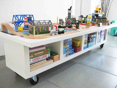 Place to play with building and trains and whatever possibly in the living room as a moveable bench on wheels? IKEA Hacks For Kids | Decozilla