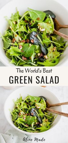 I dare to call this simple green salad recipe the best green salad in the world! It's my absolute favorite green salad recipe! Fresh, delicious, simple, easy, and ready in under 10 minutes! Easy Green Salad Recipes, Lettuce Salad Recipes, Side Salad Recipes, Salad Recipes For Dinner, Healthy Salad Recipes, Simple Recipes, Fresh Salad Recipes, Simple Green Salad, Mixed Green Salads