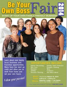 Be Your Own Boss Fair  - Follow Your Dreams! March 12, 2014 @ 4pm to 8pm Los Gatos Masonic Lodge 131 E. Main Street, Los Gatos, CA 95030 Identity Theft Protection, Masonic Lodge, Be Your Own Boss, Main Street, Friends Family, The Twenties, March, Skin Care, Dreams