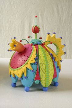 """Untitled Teapot""   Artist and Designer ~Rebecca Mazur - Zimmerman~ Displayed at the ""Fuller Craft Museum Polymer Exhibit""     