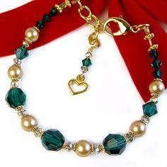 Gold Pearl Green Crystal Bracelet, Swarovski, Heart Charm, Adjustable | PrettyGonzo - Jewelry on ArtFire