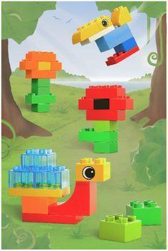 улитка, тукан Lego Activities, Infant Activities, Construction Lego, Mega Blocks, Toddler Crafts, Toddler Stuff, Lego Birthday, Lego Creations, Games For Kids