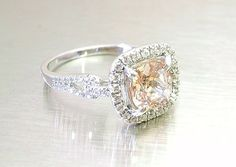 Peach Sapphire 2.45 carat   14K gold and 0.44 carat Natural