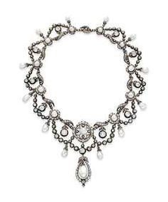 Elizabeth Taylor's Belle Époque Diamond Necklace, circa 1860. Sold at auction in December 2011