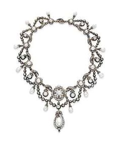 Diamond and pearl necklace, c. 1860. Gift from Richard Burton to Elizabeth Taylor in 1968.