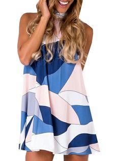 Fulok Womens Stylish Leisure Splice Printed Sleeveless Dress