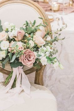 Loose and airy wedding bouquet with blush and dusty mauve blooms and chiffon ribbon. Photo by Simply Sweet Photography Mauve Wedding, Blush Wedding Flowers, Romantic Flowers, Bridal Flowers, Floral Wedding, Whimsical Wedding Flowers, Rose Bridal Bouquet, Blush Bouquet, Hand Bouquet