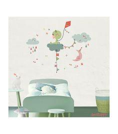 Vinilo infantil de tela entre las nubes imagine para decorar el cuarto de tu peque  en venta en la tienda online de vinilos infantiles Decohappy