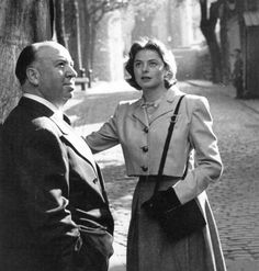 Alfred Hitchcock and Ingrid Bergman at London, 1946