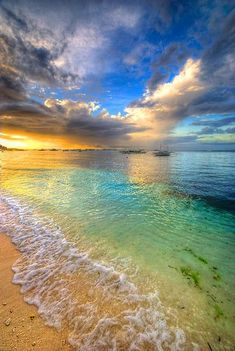 Bohol, Philippines looks beautiful! The sunset on the clear blue water is simply breathtaking. I would love to dip my toes in the water and stroll along this beach while the sun sets and rises. Oh The Places You'll Go, Places To Travel, All Nature, Nature Beach, Amazing Nature, Belle Photo, Beautiful Beaches, Beautiful Ocean, Simply Beautiful
