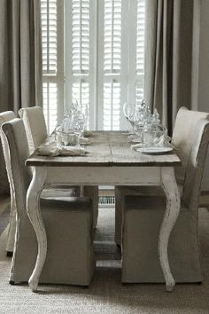 @Hestia's Heart's Heart's Heart Argyris Isom Gorgeous .french country dining table  chairs + drapery  shutters ..
