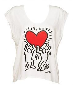 Ladies White Scoop Neck Slouch Keith Harring Holding #Heart T-Shirt from Junk Food xoxo
