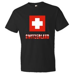"""Fun design shows the #Swiss #Flag, with the word or name """"Switzerland"""" below, in snow-capped lettering. Whether you are a traveler wanting to recall a lovely trip, vacation or holiday, or of Swiss descent and wishing to honor your love and pride in your ethnic heritage, culture and ancestry, this design has something to offer you.$22.99 http://ink.flagnation.com from your @Auntie Shoe"""
