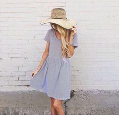 Dusty Blue Tee Shirt Dress + Straw Sun Hat