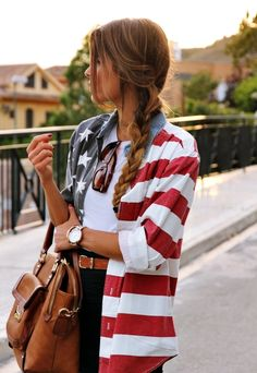 Button up american flag shirt.
