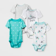 Baby Boys' 4pk Short Sleeve Bodysuit White/Aqua 0-3M - Cloud Island, Size: 0-3 M, Blue