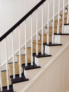My House: Staircase Before & After Black Staircase, Staircase Runner, House Staircase, Staircase Railings, Wood Stairs, Banisters, Staircases, Gothic Windows, Arched Windows