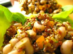 1 cuporganic red quinoa 1¾ cup water 2 inches, kelp 1½ cups black eyed peas, cooked (can use one 15oz can black-eyed peas, rinsed) Sea salt 1 bell pepper, seeded and diced 1 shallot, peeled and diced Butter lettuce leaves  Rinse quinoa and add to a pot with water and