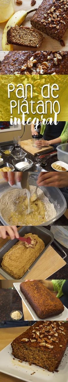 Delicioso pan de plátano, integral y saludable, receta fácil!