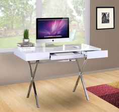 modern home office featuring glossy white. Black Or White Wood \u0026 Metal Home Office Computer Workstation Desk With 2 Storage Drawers Pull-Out Keyboard Modern Featuring Glossy E