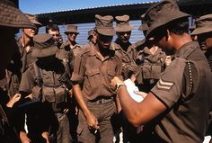 Regular mail, delivered to front-lines is key to maintaining an army's morale. Here SADF troops on the Angolan border receive this vital link with home and loved ones from their corporal. Once Were Warriors, South African Air Force, Army Day, Brothers In Arms, Defence Force, The Old Days, Troops, Soldiers, Military History