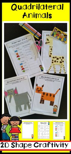 quadrilateral and geometry lesson a fun craft math activity that students can use to learn about the features of quadrilateral / 2d Shapes Activities, Geometry Activities, Math Activities, Math Games, Learning Shapes, Stem Learning, Alphabet Activities, Learning Spanish, Math Classroom