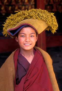 "Yellow Hat monk . Tashilhunpo Monastery . Shigatse, Tibet Gelugpa monk, India - ""The Gelug tradition, also known as the Yellow Hat school , is the newest of the four major schools of Tibetan Buddhism."""