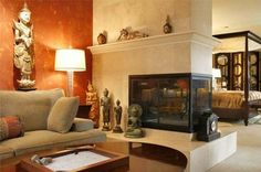 3 Sided Fireplace Design Ideas, Pictures, Remodel and Decor