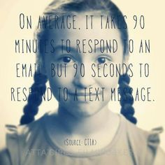 On average, it takes 90 minutes to respond to an email, but 90 seconds to respond to a text message.