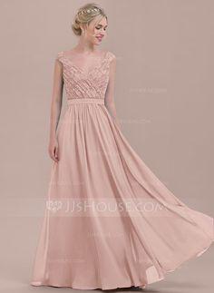 A-Line/Princess V-neck Floor-Length Chiffon Lace Bridesmaid Dress With Ruffle (007116632)