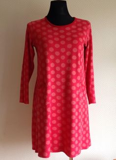 MARIMEKKO MIKA PIIRAINEN Polka Dots Red Long Sleeves Tunic Dress GUC Cotton #MARIMEKKO #Tunic #Casual