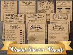 Each of these games sells for $3.69, making the total value of this bundle $36.90. By purchasing this bundle, you will be getting a 60% discount! ~WHAT YOU GET~ Printable PDF files for 10 TOP Selling Bridal Shower Games. Each game comes with two different sizing options: 1 per 8.5 x 11 inch sheet (full size game) 2 per 8.5 x 11 inch sheet (prints two per page). **What Did The Groom Say only comes with the 2/per page sizing option due to its design.** Each game comes with two differe...