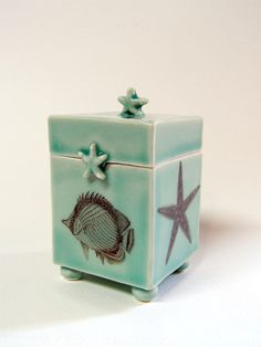 Hand made clay boxes | Seashore themed porcelain box with decals