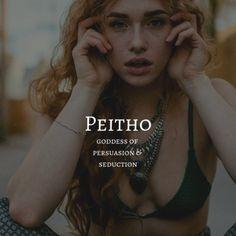 peitho / goddess of persuasion & seduction Female Character Names, Female Names, Female Goddess Names, Female Fantasy Names, Greek Mythology Gods, Greek Gods And Goddesses, Names Of Goddesses, Unusual Words, Rare Words
