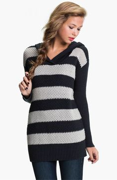 Rubbish® Rugby Stripe Hoodie Sweater (Juniors)   Nordstrom