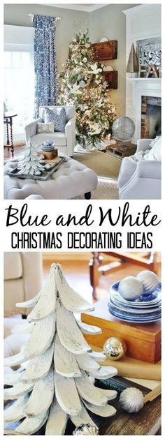 Fun Christmas decorating ideas in a blue and white color pallet! thistlewoodfarms.com