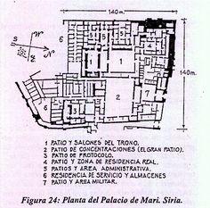 Planta del Palacio de Zimri-Lin de Mari (S.XVIII a.C.) El palacio formaba parte de un recinto civil ubicado en la ciudad. Era el mejor exponente del auge de la monarquía, de su papel dentro de la estructura de estado y del sistema socio-político mesopotámico. Así, bajo las intenciones de servir  estas pretensiones representativas de poder, el palacio incrementa su importancia y adquiere mayor complejidad estructural. Este palacio cubrió 2,5hect y fue constr. en dif fases.