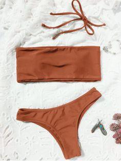 High Cut Bandeau Thong Bathing Suit - BRICK-RED M