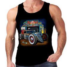 Velocitee Mens Vest Rat Rod Garage Hot Rockabilly 32 Ford Truck Pick Up W17680 #Velocitee