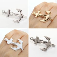 Summer Marine Look Anchor Double Ring Size 6 7 8 Selectabl Anchor Double Ring