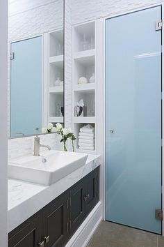 Bathroom with Frosted Glass Shower Door, Contemporary,Bathroom I love this door