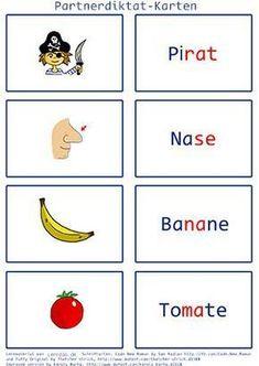 Karten für ein Partnerdiktat (Grundschule)