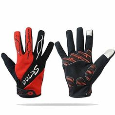Summer Cycling Gloves Full Finger Women Men Touch Screen Gloves for Smart Phone Breathable Mountain Bike Gloves Road Racing Bicycle Gloves Hiking Gloves (RED, L) >>> You can get more details by clicking on the image.